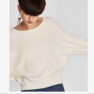 Zara Knit White Tie Back Cozy Sweater